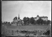 Unidentified church and hotel, Marblehead Neck, Massachusetts, undated (ca.     1882-1919). Emulsion damage. See 2351