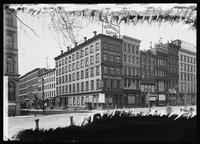 View of the corner of Broadway and Murray Street, New York City, 1892. Office of the Independent on the corner.