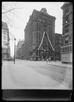 The Evening Post Building, decorated for the paper's 100th anniversary, New York City, 1901.