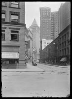 View of Broad Street looking north from Beaver Street, New York City, undated (ca. 1900-1919).