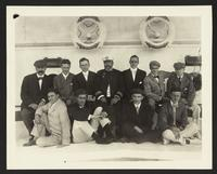 Unidentified group portrait aboard the SS Manchuria, Taft trip, undated [circa 1905].