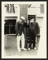 Nicholas Longworth III and an unidentified man aboard the SS Manchuria, undated [circa 1905].