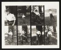 Bonnie Maginn with golf clubs, collage of 8 photographs, undated [circa 1900-1910].