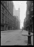 View looking up Fulton Street from Nassau Street, New York City, undated (ca. 1890-1919).
