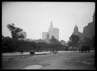 City Hall, with the Municipal Building and part of Newspaper Row in the background, New York City, 1913.