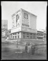 Seventh Avenue and 34th Street, New York City, July 26, 1928: Brotherhood of Locomotive Engineers Cooperative Trust Company (partial), Libby's Peaches, Nassau County Lots (McGolrick Realty Company), 'Abie's Irish Rose' (motion picture), O-Cedar Furniture