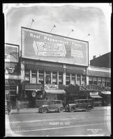 125th Street between Seventh Avenue and Lenox Avenue, New York City, June 24, 1927: Wrigley's Double Mint Gum. Also storefronts of Ideal Shoe Shop, Toby's Men's Shop, Christensen School of Rag and Jazz, Orient Photo Plays.