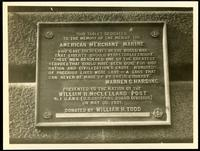 New York City: American Merchant Marine memorial tablet, 1921?.
