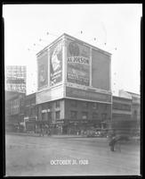 Seventh Avenue and 34th Street, New York City, October 31, 1928: Libby's Peaches, Brotherhood of Locomotive Engineers Cooperative Trust Company,  O-Cedar Furniture Polish, 'The Singing Fool' (motion picture), Vote for Smith and Robinson. Also 2 empty bill
