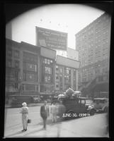 West 42nd Street at Sixth Avenue, New York City, June 20, 1934: Union Dime Savings Bank. Also 3 empty billboards.