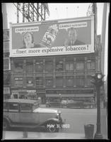 Broadway at West 47th Street, New York City, May 31, 1933: Camel Cigarettes, Schaefer Beer (partial).