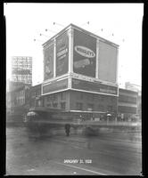 Seventh Avenue and 34th Street, New York City, January 31, 1928: Brotherhood of Locomotive Engineers Cooperative Trust Company, O-Cedar Furniture Polish, Armour Star Ham & Bacon, Wrigley's Double Mint Gum, Savarin Restaurant, Near East Relief. Also 1 empt