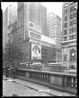 Fifth Avenue and 42nd Street, New York City, June 29, 1928: 'The Lion and the Mouse' (motion picture), Armour Star Ham, Careful Carpet Cleaning Company, Colgate's Ribbon Dental Cream, Union Dime Savings Bank. Also 3 empty billboards.