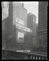 Fifth Avenue and 42nd Street, New York City, February 27, 1929:  'The Singing Fool' (motion picture), Armour Star Ham, Buick Cars, Miami (City of Miami Chamber of Commerce), The Roosevelt (car). Also 2 empty billboards.