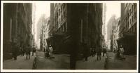 New York City: Pine Street looking west from William Street, undated. Stereograph.