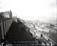 Chateau de Frontenac, Lower Town, Quebec City, undated. Viewed from Dufferin Terrace.