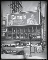 Broadway at West 47th Street, New York City, May 29, 1934: Camel Cigarettes,Frommer's Beer (partial), Palisades Amusement Park (partial), Union Dime Savings Bank (partial).