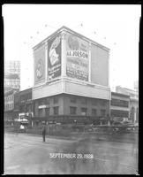 Seventh Avenue and 34th Street, New York City, September 29, 1928: Brotherhood of Locomotive Engineers Cooperative Trust Company (partial), Libby's Peaches, O-Cedar Furniture Polish, 'The Singing Fool' (motion picture). Also 3 empty billboards.