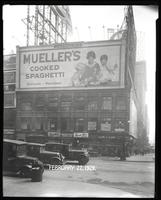 Broadway at West 47th Street, New York City, February 27, 1929: Mueller's Cooked Spaghetti.