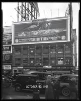 Broadway at West 47th Street, New York City, October 30, 1931: Canadian National Exhibition, Bond Bread (partial), Bowery Savings Bank (partial), Union Dime Savings Bank (partial).