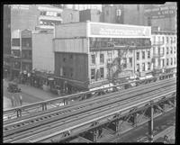 Sixth Avenue and 27th Street, April 1925: Chesterfield Cigarettes; painted sign for Leon Heller Manufacturing Furrier. Also 2 empty billboards.