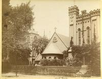 """The Little Church Around the Corner"" [Church of the Transfiguration], East 29th Street between Madison Avenue and Fifth Avenue, around 1892."