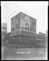 Seventh Avenue and 34th Street, New York City, December 29, 1928: Libby's Peaches, Ludwig Baumann Radio, Brotherhood of Locomotive Engineers Cooperative Trust Company, 'My Man' (motion picture), O-Cedar Furniture Polish, The Pennsylvania Building, The Roo