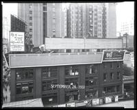 Sixth Avenue between 42nd Street and 43rd Street, New York City, September 31, 1931: Emergency Employment Committee, Union Dime Savings Bank. On El platform: Clorox Bleach, Del Monte Coffee, New York Edison System, Richardson and Robbins Boned Chicken,