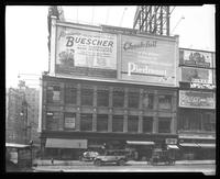 Seventh Avenue and West 47th Street, New York City, 1925: Buescher Saxophones and Band Instruments, Piedmont Cigarettes, Murad, Palisades Park, 'Love's Bargain.'