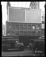 Broadway, 47th Street, and Seventh Avenue, New York City, August 23, 1926: 2 empty billboards.