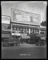 125th Street between Seventh Avenue and Lenox Avenue, New York City, September 27, 1927: Wrigley's Double Mint Gum, 'The Garden of Allah' (motion picture). Also storefronts of Ideal Shoe Shop, Toby's Men's Shop, Christensen School of Rag and Jazz, Orient