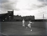 Phyllis M. King playing tennis, probably August 7, 1935.