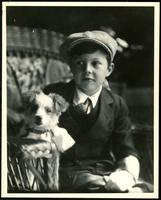 New York City: Alfred Funck (little boy) and dog, 1926. Studio portrait.