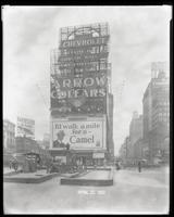 Broadway, 47th Street, and Seventh Avenue, New York City, April 27, 1927: Arrow Collars, Camel Cigarettes, Harvester Cigars, Chevrolet Cars.