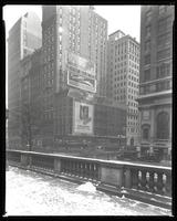 Fifth Avenue and 42nd Street, New York City, January 30, 1928: City of Miami Chamber of Commerce, All-Florida Cruise, Jarrett Type Cleaner, 'The Companionate Marriage' (book), Colgate's Ribbon Dental Cream. Also 1 empty billboard.