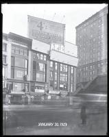 Sixth Avenue between 42nd Street and 43rd Street, New York City, January 30, 1929: Union Dime Savings Bank. Also 3 empty billboards.