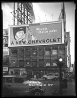 Broadway at West 47th Street, New York City, October 31, 1932: Chevrolet Cars, Taystee Bread (partial).
