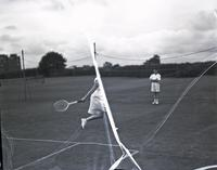 Nancy M. Lyle playing tennis, August 7, 1935.