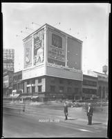 Seventh Avenue and 34th Street, New York City, August 31, 1928: Libby's Peaches, Brotherhood of Locomotive Engineers Cooperative Trust Company (partial),  O-Cedar Furniture Polish, 'Abie's Irish Rose' (motion picture). Also 3 empty billboards.