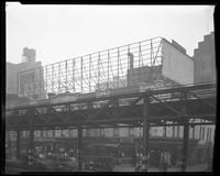 Sixth Avenue and West 47th Street, New York City, September 1925: 2 empty billboards.