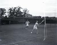 Freda James playing tennis, probably August 7, 1935.