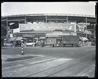 Eighth Avenue and Cathedral Parkway [i.e. 110th Street], New York City, October 26, 1925: Chesterfield Cigarettes, Physical Culture Shoes, Socony Gasoline, Clover Gardens.