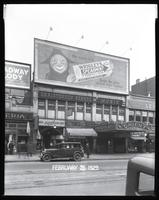 125th Street between Seventh Avenue and Lenox Avenue, New York City, February 25, 1929: Wrigley's Spearmint Gum. Also storefronts of Ideal Shoe Shop, Toby's Men's Shop, Christensen School of Music, Orient Photo Plays.