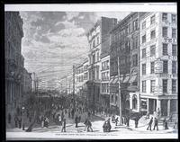 Broad Street during the Panic,' 1869?; copy negative after a wood engraving from a photograph by Rockwood, published in an illustrated newspaper.