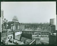 Central Park rooftop view from Broadway at 60th Street, looking east, New York City, undated [1920s?]. (Roege 9466)