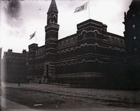 7th Regiment Armory, on the block bounded by Park Avenue, Lexington Avenue, East 66th, and East 67th Streets, New York City, February 23, 1891. Looking south on Lexington.