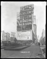 Broadway, 47th Street, and Seventh Avenue, New York City, February 24, 1927: Arrow Collars, Camel Cigarettes, Harvester Cigars, Chevrolet Cars.
