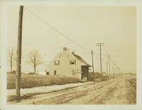 Flatlands: Captain Garret Kouwenhoven House (right), 21 Utica Avenue, southwest corner of Kings Highway, 1923. Demolished by 1925. Second site; moved from east of Utica Avenue in 1904.