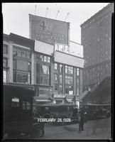 Sixth Avenue between 42nd Street and 43rd Street, New York City, February 28, 1929: Union Dime Savings Bank. Also 3 empty billboards.