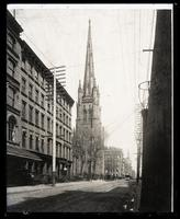 Broadway looking north from Rector Street, showing Trinity Church, New York City. Copy negative of an 1895 photograph of an unknown photographer.